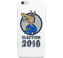 Election 2016 Democrat Donkey Mascot Circle Cartoon iPhone Case/Skin