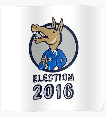 Election 2016 Democrat Donkey Mascot Circle Cartoon Poster