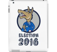 Election 2016 Democrat Donkey Mascot Circle Cartoon iPad Case/Skin