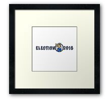 Election 2016 Democrat Donkey Mascot Cartoon Framed Print