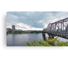 Kayaking on the river Canvas Print