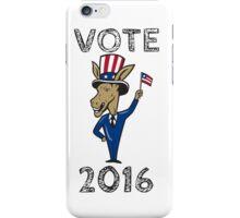 Vote 2016 Democrat Donkey Mascot Flag Cartoon iPhone Case/Skin