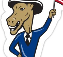 Vote 2016 Democrat Donkey Mascot Flag Cartoon Sticker