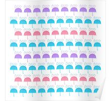 Umbrellas and Drops Poster