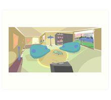 The living room '50s cartoon style Art Print