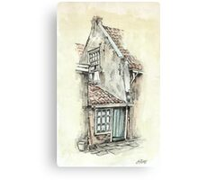 OLD DUTCH PICTURE - AQUAREL AND CONTE Canvas Print