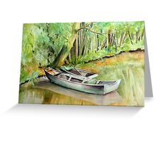 Monet's Garden Boat Greeting Card