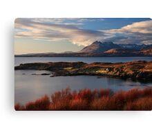 Cuillin Mountains from Tarskavaig, Isle of Skye, Scotland. Canvas Print
