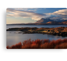 Cuillin Mountains from Tarskavaig, Isle of Skye, Scotland. Canvas Print