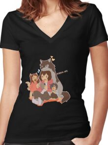Wolf Family Women's Fitted V-Neck T-Shirt
