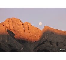 sunrise moon set, canmore canada Photographic Print