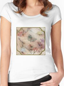 Victorian Blossoms with Butterfly Women's Fitted Scoop T-Shirt