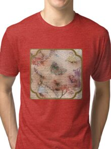 Victorian Blossoms with Butterfly Tri-blend T-Shirt