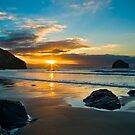 Trebarwith Strand Winter Sunset 2 by David Wilkins