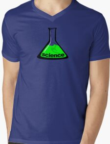 Science Beaker Green Mens V-Neck T-Shirt