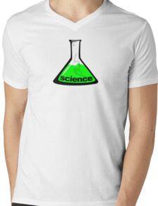 Science Beaker Green Mens V-Neck T-Shirt