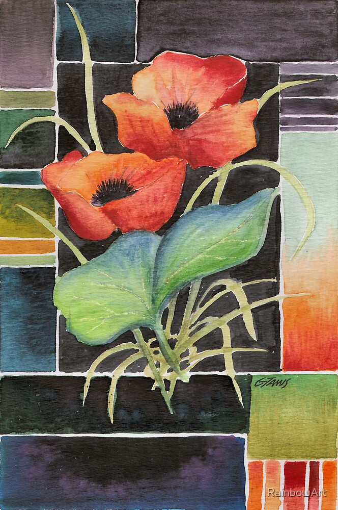 TWO POPPIES - AQUAREL by RainbowArt