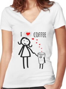 Cute I Love Coffee Tees Women's Fitted V-Neck T-Shirt