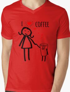 Cute I Love Coffee Tees Mens V-Neck T-Shirt
