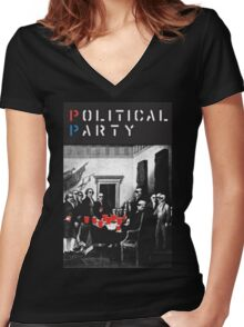 Political Party! shirt (and other items available too) - Choose shirt style/color! (tshirt with red solo solos, shades, beer pong)  Women's Fitted V-Neck T-Shirt
