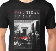 Political Party! shirt (and other items available too) - Choose shirt style/color! (tshirt with red solo solos, shades, beer pong)  Unisex T-Shirt