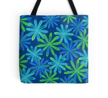 Blue and Green Floral Design Tote Bag