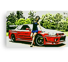 Nissan Skyline sexy girl in blue oil paint Canvas Print