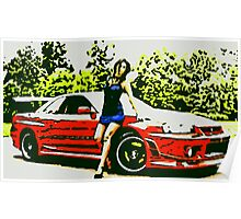 Nissan Skyline sexy girl in blue oil paint Poster