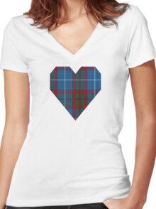 00205 Edinburgh District Tartan  Women's Fitted V-Neck T-Shirt