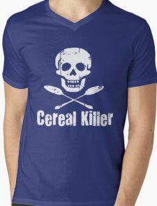 Cereal Killer Funny Biker Tattoo Skull Mens V-Neck T-Shirt