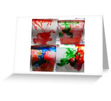 Water and ink.(food color) Greeting Card