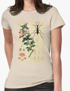 Pink flower with elegant black Damaster beetle; French botanical illustration from 1839 T-Shirt