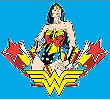 Wonder Woman on Blue Photographic Print
