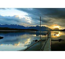 Lake Te Anau At Sunset. South Island, New Zealand. Photographic Print