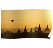 Balloon over Bagan Poster