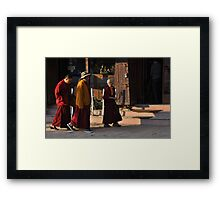 Monks, Bodnath Stupa, Kathmandu Framed Print