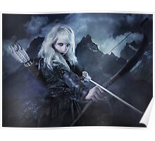 Elven warrior girl archeress Poster