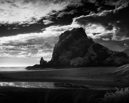 lion rock at piha by dennis william gaylor