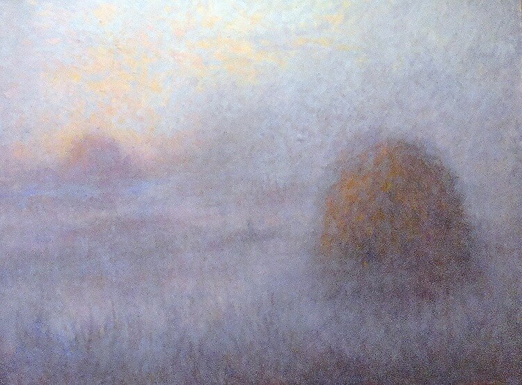 Haystacks in the fog by Julia Lesnichy