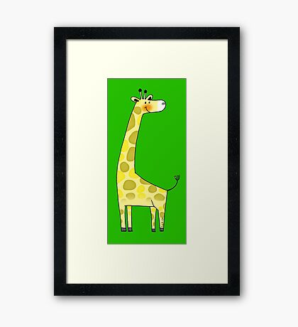 Cute giraffe cartoon Framed Print