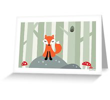 Cute fox sitting on a rock in the woods, card Greeting Card