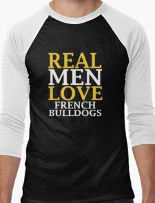 REAL MEN LOVE French Bulldog Dogs Men's Baseball ¾ T-Shirt