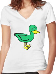 Duck Women's Fitted V-Neck T-Shirt