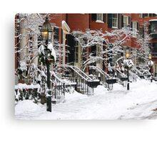 Boston Brownstones - Snow Painted Ladies Canvas Print