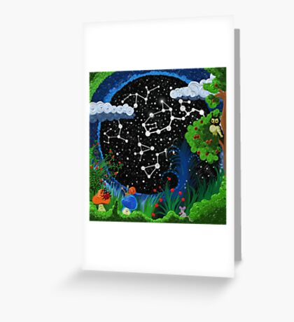 Starry sky, surrounded by grass and trees   Greeting Card