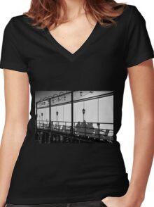 Café shadows Women's Fitted V-Neck T-Shirt