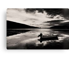 Boat in Black & White water. Canvas Print