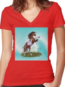Rearing Stallion .. throw, tote Women's Fitted V-Neck T-Shirt