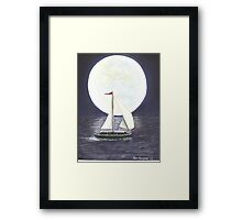 Lake Michigan full moon Framed Print