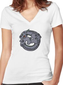 Circular Dragon- textured Women's Fitted V-Neck T-Shirt